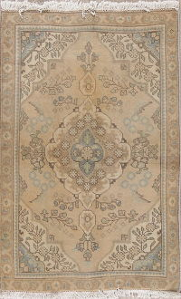 Muted Brown Tabriz Persian Wool Rug 3x5
