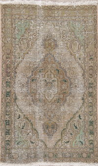 WORN PILE Tabriz Muted Distressed Persian Wool Rug 3x5