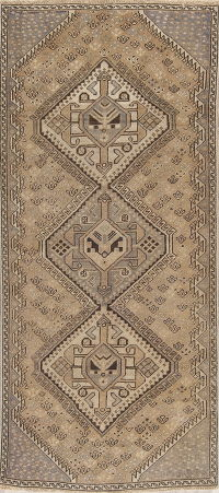 Distressed Geometric Bakhtiari Persian Runner Rug 4x9