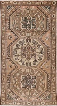 Muted Distressed Geometric Bakhtiari Persian Wool Rug 5x9