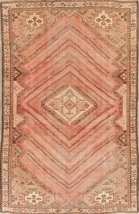 Coral Muted Distressed Kashkoli Persian Wool Area Rug 5x8