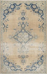 Muted Distressed Kashmar Persian Wool Rug 5x8