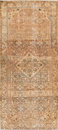 Muted Distressed Hamedan Persian Runner Rug 5x10