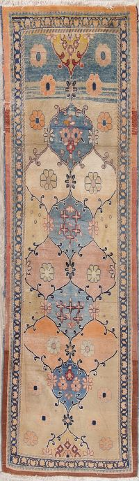 Muted Distressed Sarouk Persian Runner Rug 3x10