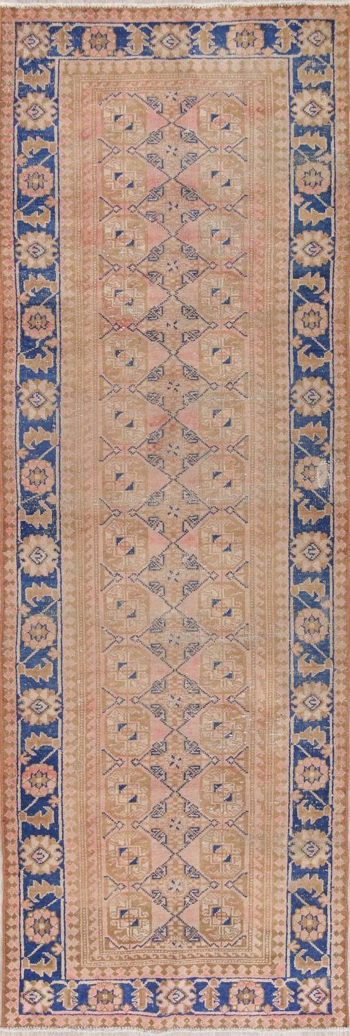 Antique Muted Distressed Malayer Persian Runner Rug 4x11 image 1