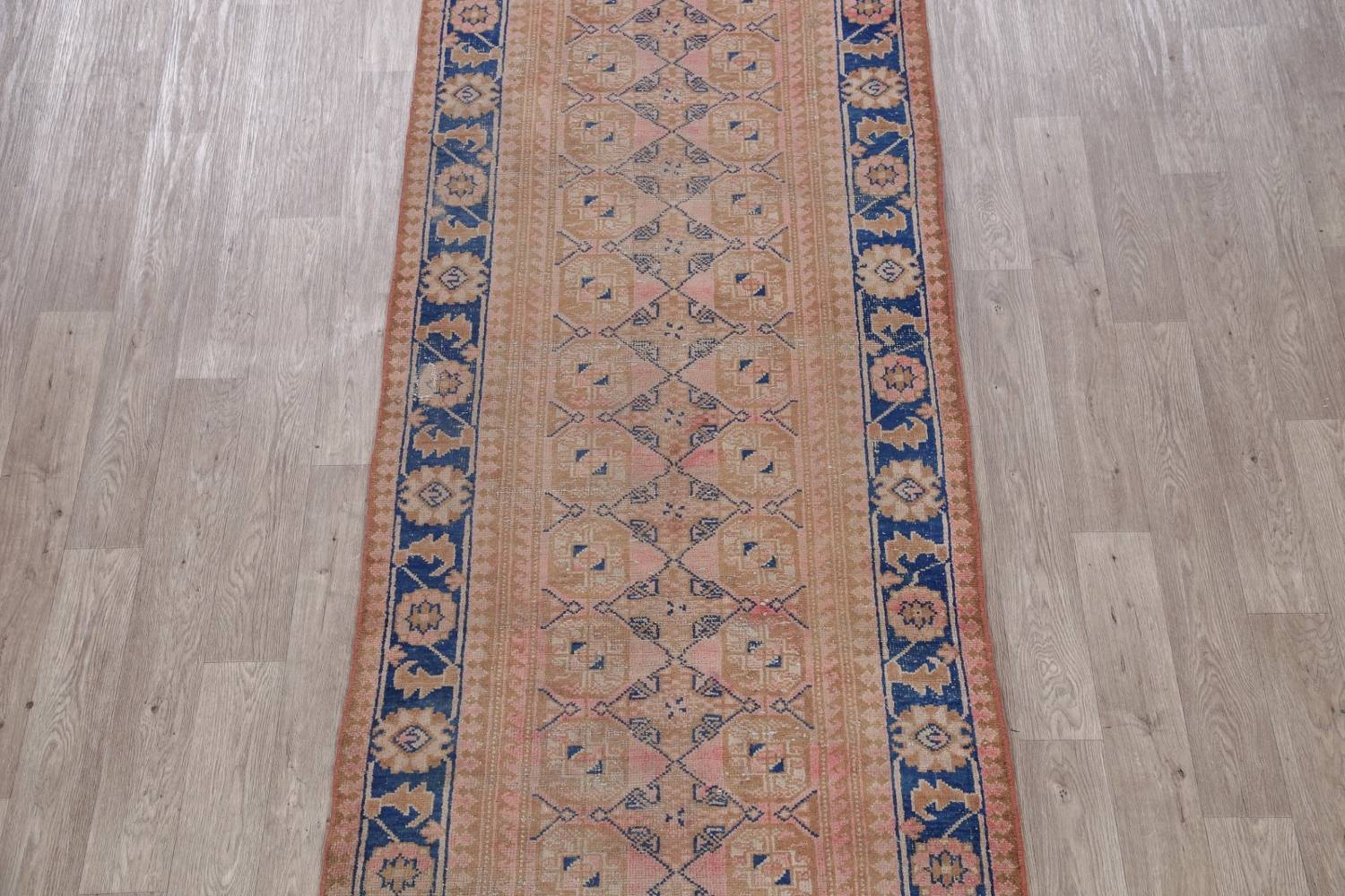 Antique Muted Distressed Malayer Persian Runner Rug 4x11 image 3