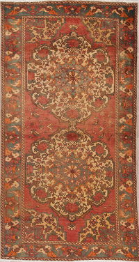 Red Geometric Bakhtiari Persian Wool Rug 5x10
