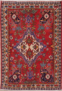 Geometric Red Bakhtiari Persian Wool Rug 5x7