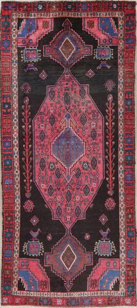 Black Geometric Bidjar Persian Runner Rug 4x9