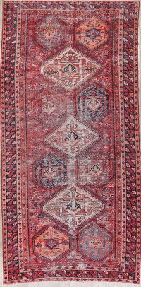 Geometric Distressed Bakhtiari Persian Wool Rug 6x13