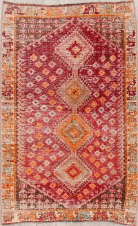Red Distressed Gabbeh Shiraz Persian Rug 5x7