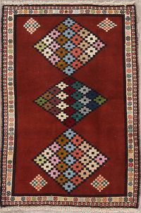 Geometric Red Gabbeh Shiraz Persian Rug 3x4