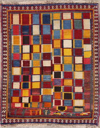 Checked Multi-Color Gabbeh Shiraz Persian Rug 3x4