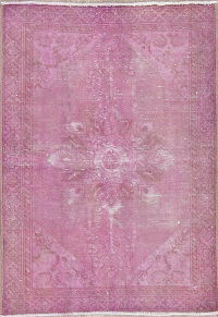 Over-Dye Pink Geometric Hamedan Persian Rug 3x4