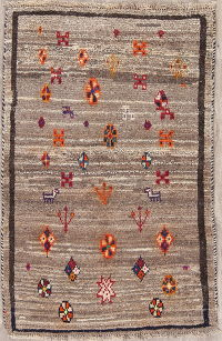 Brown Tribal Gabbeh Shiraz Persian Rug 3x4