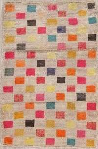 Checked Gabbeh Shiraz Persian Wool Rug 3x4