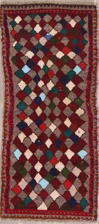 Geometric Gabbeh Shiraz Persian Runner Rug 2x5