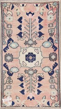 Light Pink Geometric Hamedan Persian Wool Rug 2x4