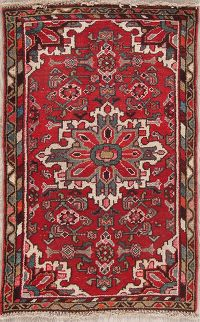 Red Geometric Hamedan Persian Rug 2x4
