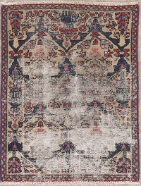 Pre-1900 Muted Distressed Bakhtiari Persian Wool Rug 2x3