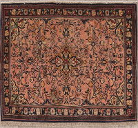 Floral Sarouk Muted Persian Square Rug 3x3