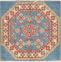 Light Blue Kazak-Chechen Oriental Square Rug 3x3