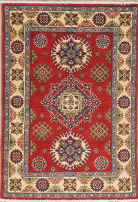 Red Geometric Kazak-Chechen Oriental Rug 3x4
