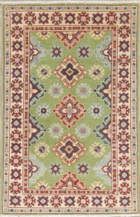 Green Geometric Kazak Pakistan Wool Rug 3x4