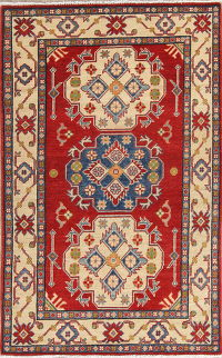 Red Geometric Kazak Pakistan Wool Rug 3x5