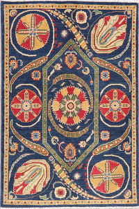 Blue Super Kazak-Chechen Oriental Wool Rug 4x5