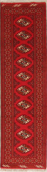 Geometric Red Balouch Persian Runner Rug 3x10