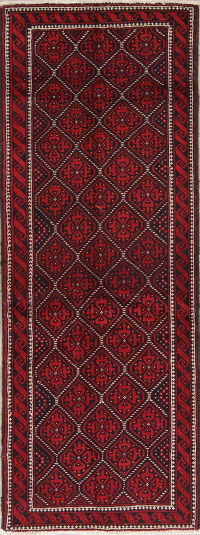 Geometric Red Balouch Persian Runner Rug 3x8