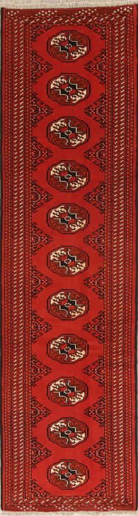 Red Geometric Balouch Persian Runner Rug 3x10