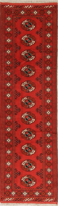 Red Geometric Balouch Persian Runner Rug 2x9