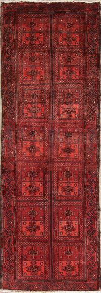 Geometric Red Balouch Persian Runner Rug 2x7