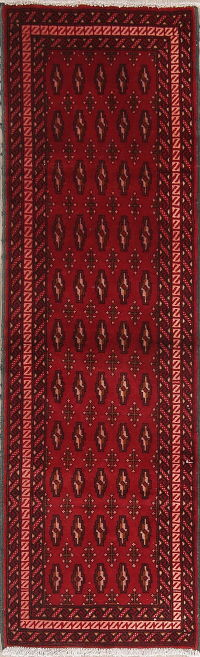 Red Geometric Balouch Persian Runner Rug 2x7