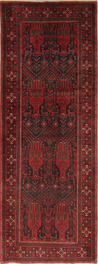 Black Tribal Balouch Persian Runner Rug 4x9