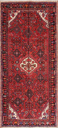 Red Geometric Hossainabad Persian Rug 5x10