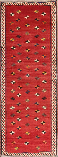 Red Modern Gabbeh Shiraz Persian Runner Rug 3x8
