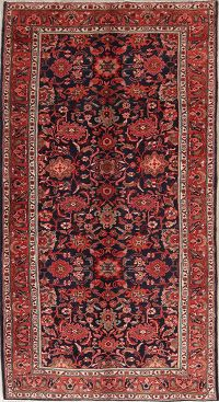 All-Over Navy Blue Nanaj Hamedan Vintage Persian Area Rug 6x10