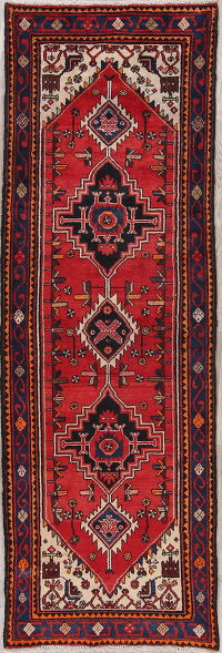Red Tribal Bakhtiari Persian Runner Rug 3x10