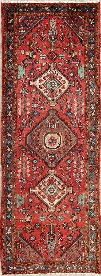 Red Hamedan Persian Runner Rug 4x10