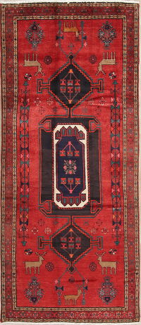 Tribal Red Bakhtiari Persian Runner Rug 4x10
