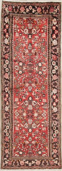 Red Floral Hamedan Persian Runner Rug 3x10