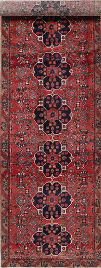 Red Heriz Persian Runner Rug 4x15
