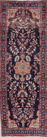 Navy Blue Floral Lilian Persian Runner Rug 4x10