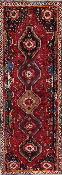Red Kashkoli Persian Runner Rug 4x11