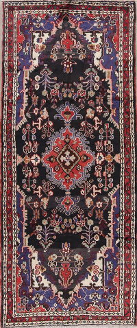 Black Hamedan Persian Runner Rug 4x9
