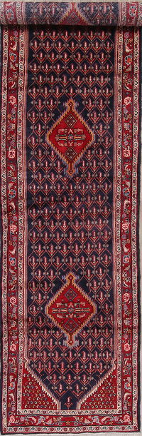 Navy Blue Malayer Hamedan Persian Runner Rug 4x16