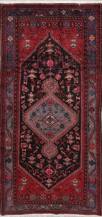 Tribal Black Hamedan Persian Wool Rug 5x9